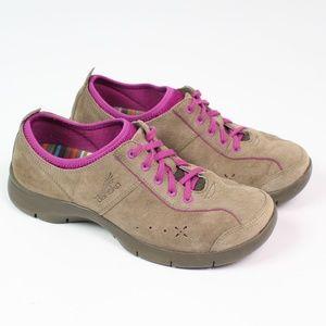 Dankso Elise tan purple comfort sneaker suede shoe
